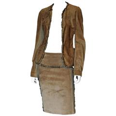 Free Shipping: Tom Ford YSL Rive Gauche 2002 Suede Safari Runway Jacket & Skirt!