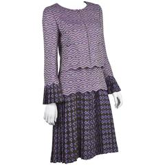 2001 Chanel Two-Piece Dress Set Purple Logo Print and Woven Wool Fabric FR 38