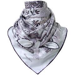 Hermes Silk Scarf Fleurs et Papillons de Tissus White Pink Grey 90 cm