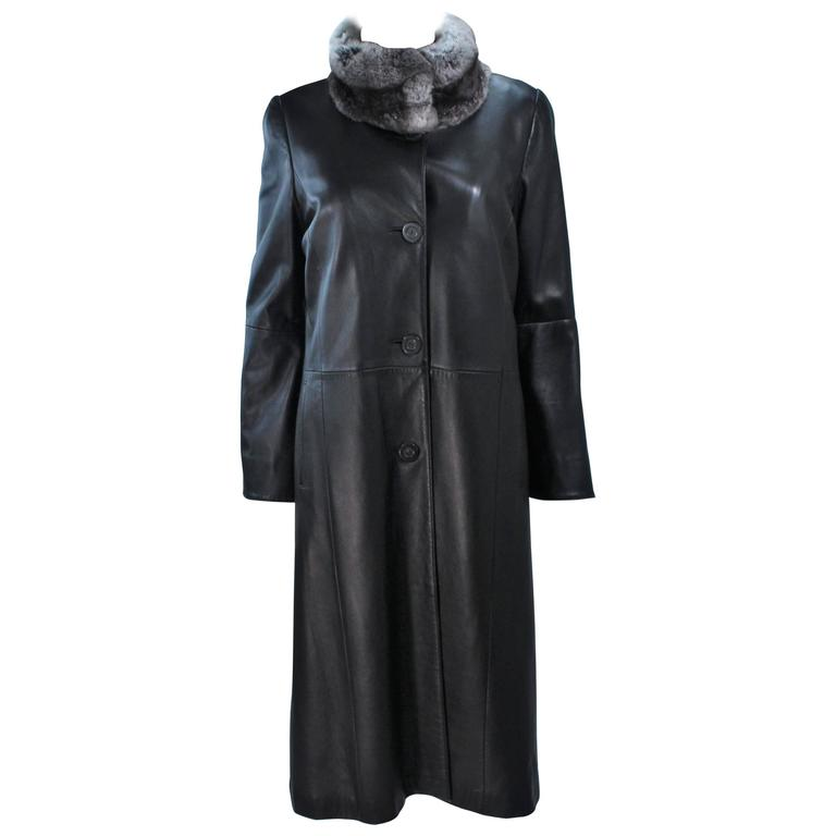 CAROLINA HERRERA Black Leather Coat with Mink Lining and Rex Rabbit Collar 6 8