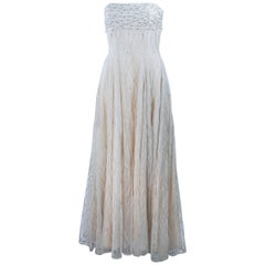 VICTOR COSTA Off White Iridescent Strapless Beaded Gown Size 2 4