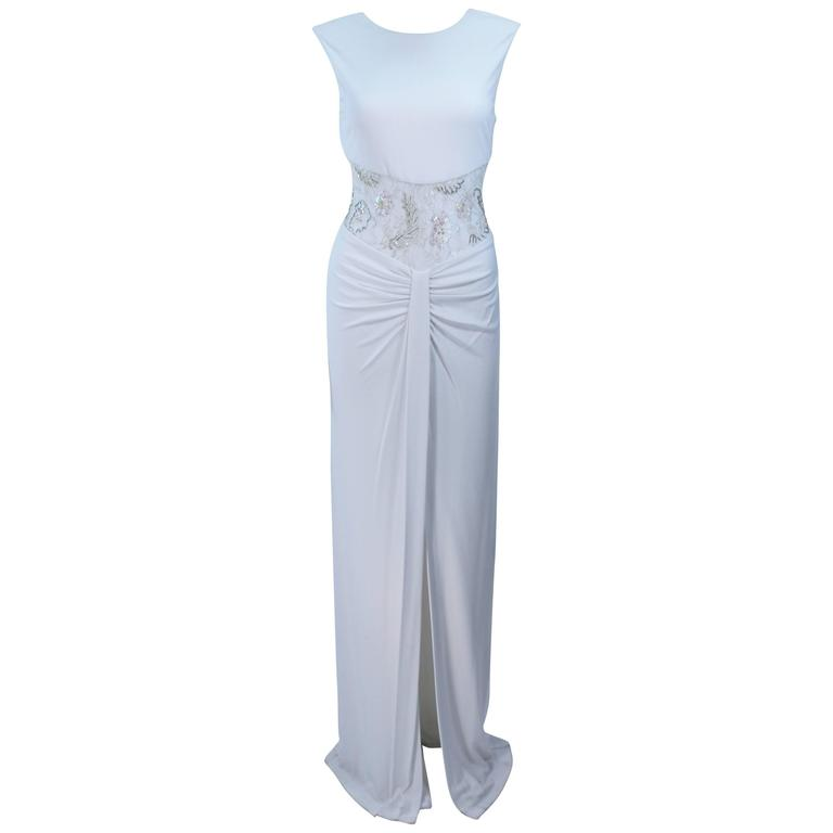 VICKY TIEL White Jersey Dress with Sheer Sequin Waist and Back Size 4
