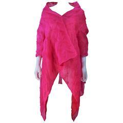 Custom Magenta Fuchsia Reversible Abstract Draped Jacket Size 4 6