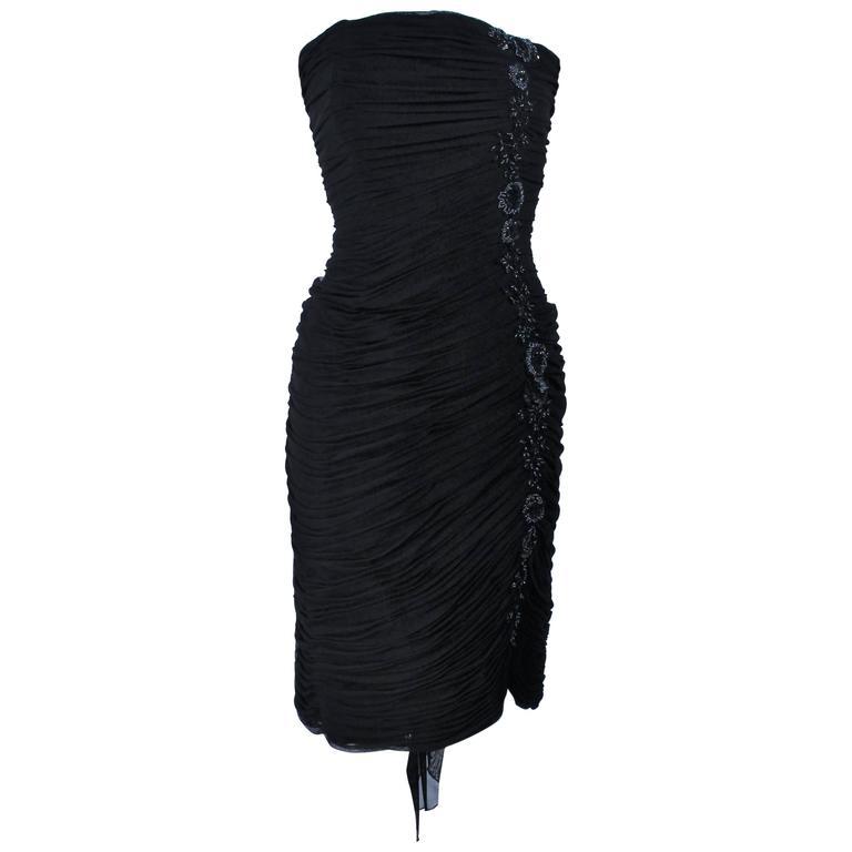 VICKY TIEL Black Stretch Mesh Beaded Cocktail Dress Size 6 8