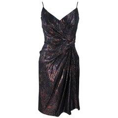 NOLAN MILLER Metallic Paisley Print Cocktail Dress Size 4