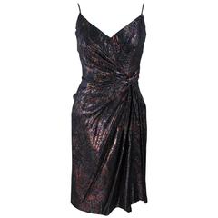 NOLAN MILLER Metallic Paisley Print Cocktail Dress Size 4