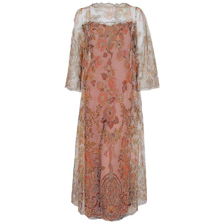 1970 Molyneux Haute-Couture Metallic Floral Lace & Crepe Bell-Sleeve Jumpsuit For Sale
