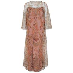 1970 Molyneux Haute-Couture Metallic Floral Lace & Crepe Bell-Sleeve Jumpsuit