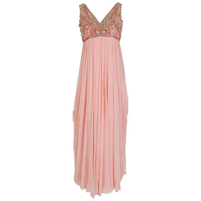 1960's Helen Rose Beaded Rhinestone Pink Chiffon Draped Grecian Goddess Dress
