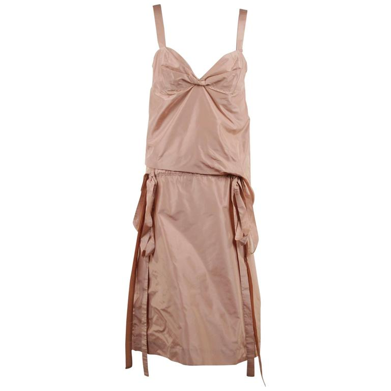 MARNI Pink Silky SLEEVELESS DRESS w/ DRAWSTRING Waistline