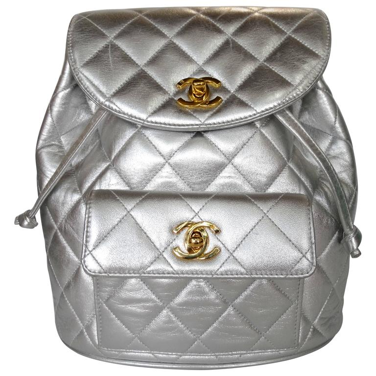 Rare 1994 Chanel Silver Metallic Backpack Bag For Sale