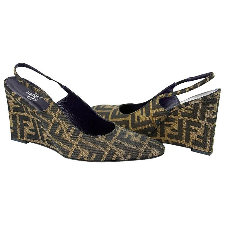 78e972929f Fendi shoe signature monogram slingback wedge at stdibs jpg 768x768  Authentic fendi espadrille wedge slingback shoe