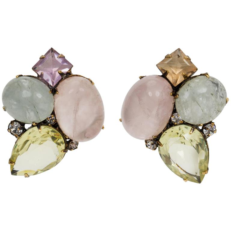 Iradj Moini Quarts Amethyst and Aqua Earrings 1