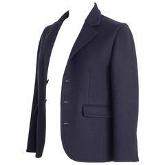 Celine Jacket 3/4 Sleeve Navy Cashmere  40 / 6 nwt