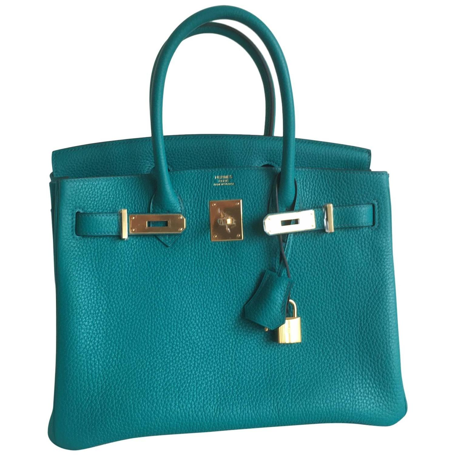 Hermes Birkin Bag 30cm Glycine with Gold Hardware Never Carried