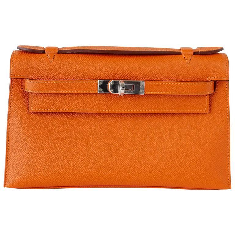 Hermes Kelly Pochette Orange Feu Epsom Palladium Hardware