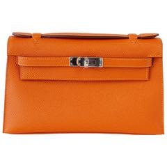 HERMES Kelly Pochette Orange Feu Epsom Palladium Hardware