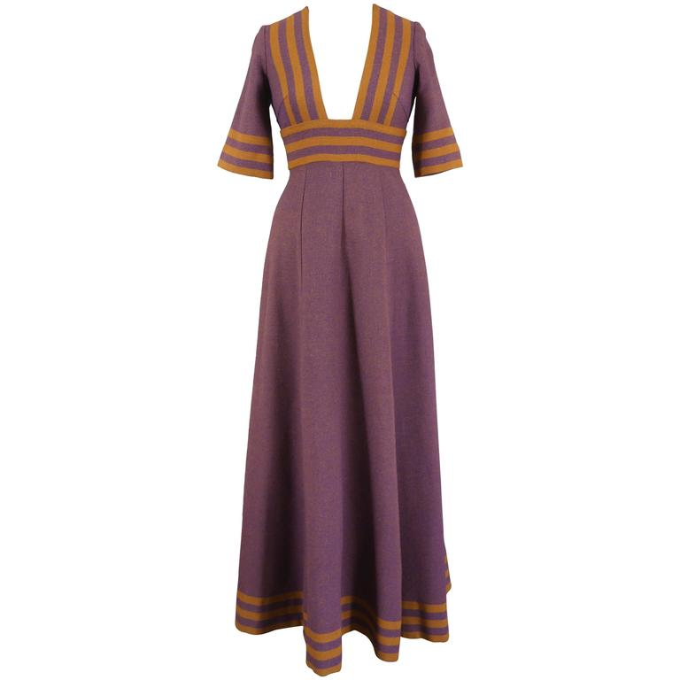 Jean Varon tweed maxi dress, c. 1960s 1