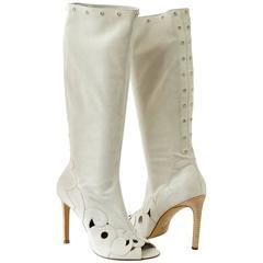 Gianni Versace Boot Vintage Pale Gray Suede Swarovksi Diamantes Peeptoe 40 /10