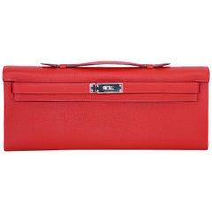 HERMES Kelly Cut Clutch Bag ROUGE CASAQUE Epsom Palladium