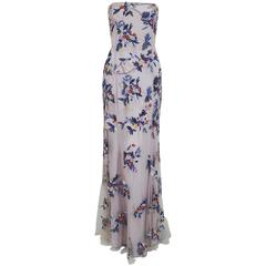 1990's Giorigo Armani Beaded Lavender Floral Strapless Cut-Out Back Formal Gown