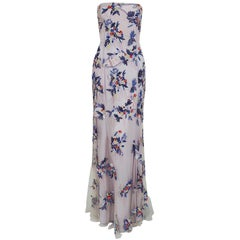 1998 Giorgio Armani Beaded Lavender Floral Strapless Cut-Out Backless Gown