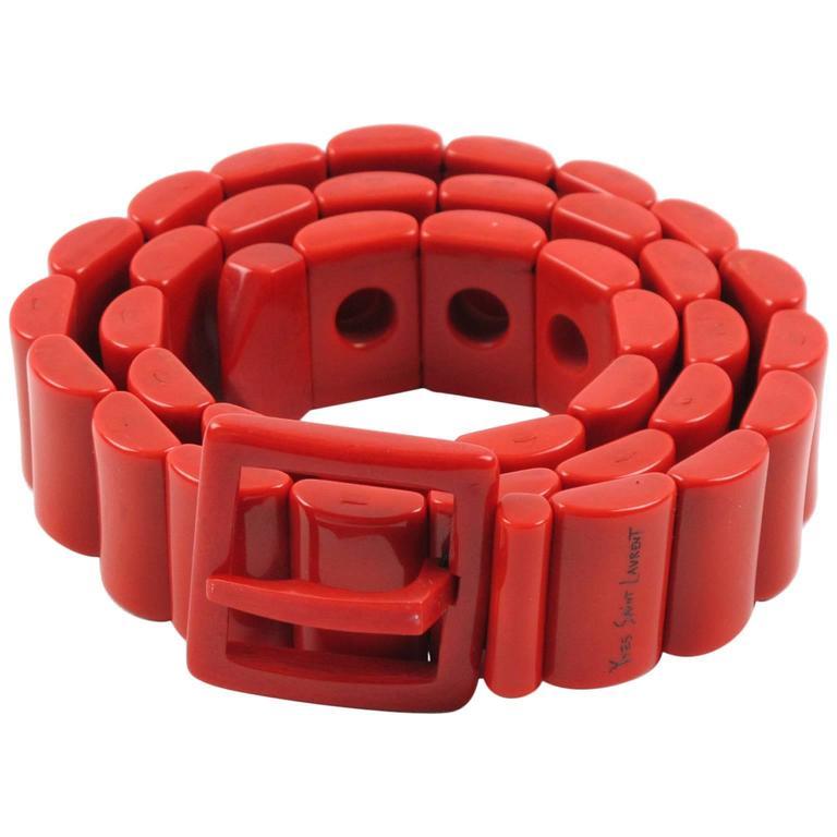 Yves Saint Laurent Vintage Rare 1970s Red Resin Waist Belt 1