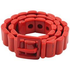 Yves Saint Laurent Vintage Rare 1970s Red Resin Waist Belt