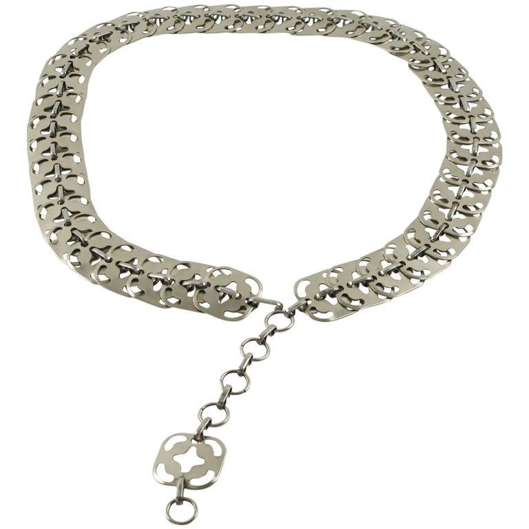 Paco Rabanne 1960s Metal Link Chain Waist Hip Belt
