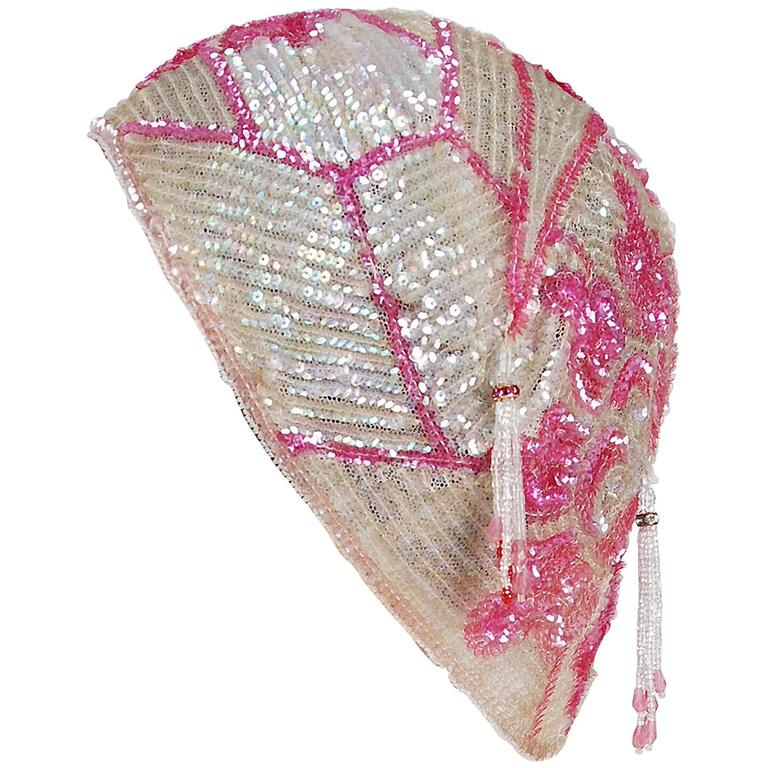 1920's Opalescent Pink Floral-Motif Sequin Beaded Flapper Cloche Hat Headpiece 1