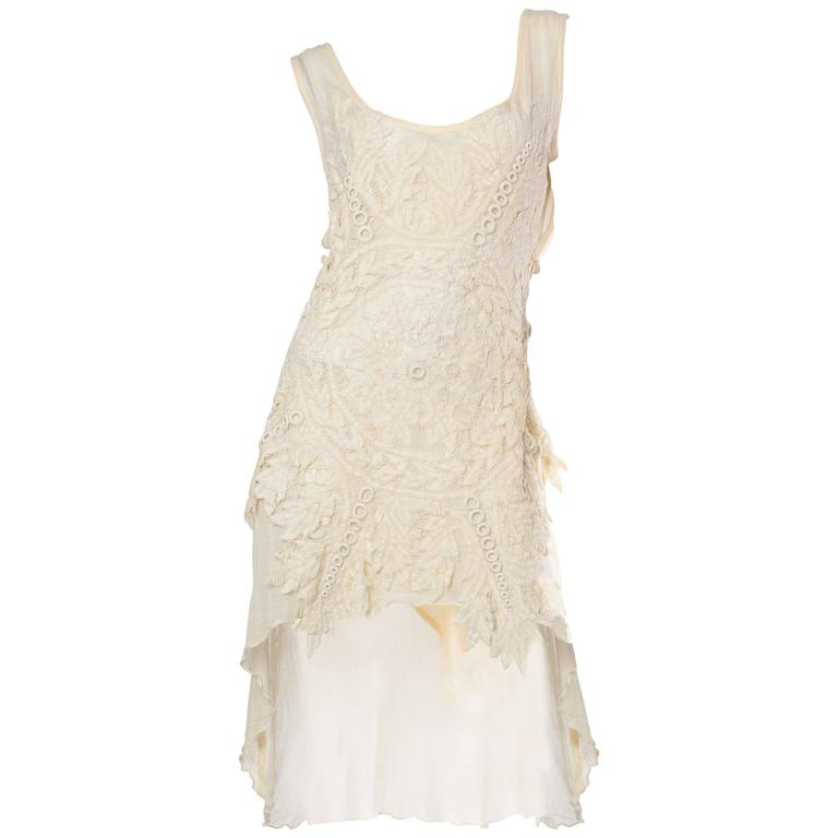 1990s Cotton Dress with Victorian Lace