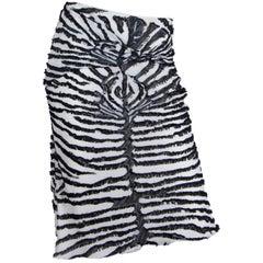 1990S JOHN GALLIANO Bias Cut Silk Fil Coupé  Zebra Skirt