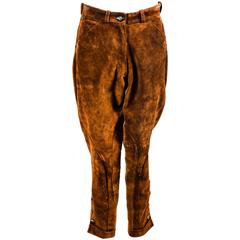 Vintage Hermes NWT Brown Suede Button Leg Cuffed Riding Pants SZ 42