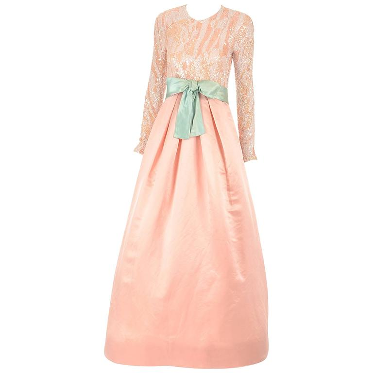1960s Arnold Scaasi Pink Silk and Sequin Evening Dress  For Sale