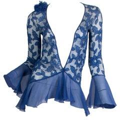 1920S Blue Floral Silk Chiffon Appliqué On Net Flutter Sleeve Jacket & Dress En