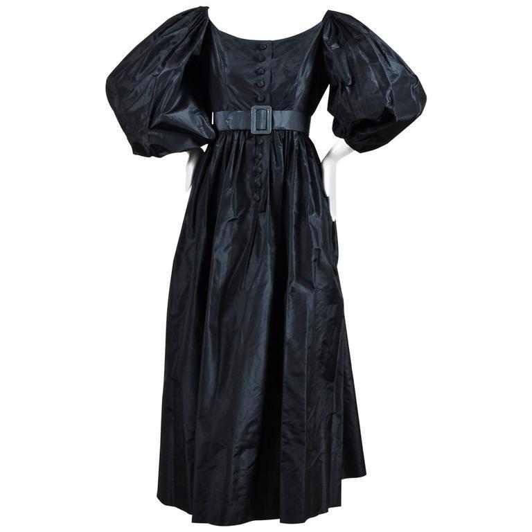 Vintage Oscar de la Renta Black Taffeta Puff Sleeve Button Front & Belted Dress 1