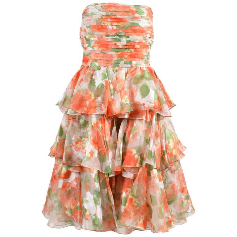 Vintage Oscar De La Renta Orange Green Floral Print Ruffle SL Dress SZ 10 1