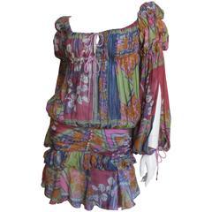 Christian Dior Bohemian Hippie Chic Batik Split Sleeve Dress