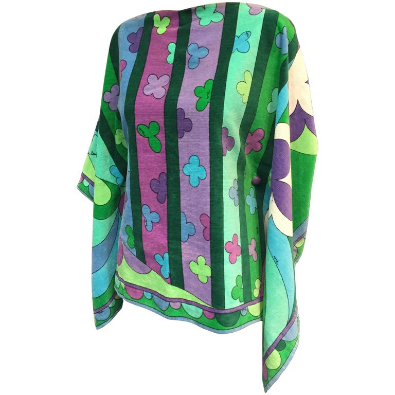 1960s Emilio Pucci Cotton Velveteen Poncho in Signature Pucci Print. For Sale
