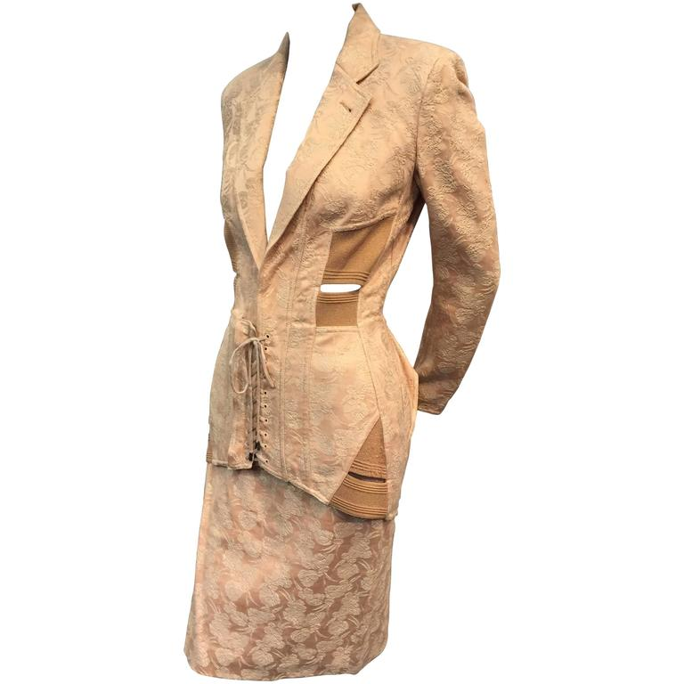 1980s Iconic Jean Paul Gaultier Peach Jacquard Corset-Inspired Skirt Suit