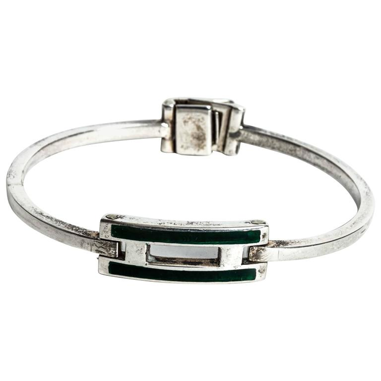 Fine Jewelry Jewelry & Watches Sterling Silver Green Enamel Bracelet.