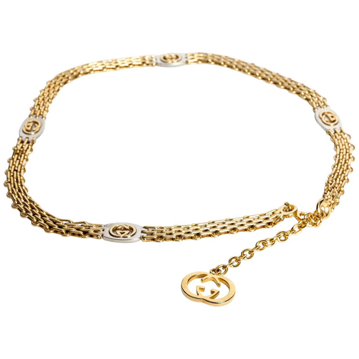 Gucci signed gold belt with gucci logo pendant at 1stdibs aloadofball Gallery