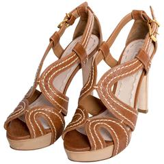 Miu Miu Camel Leather Sandals