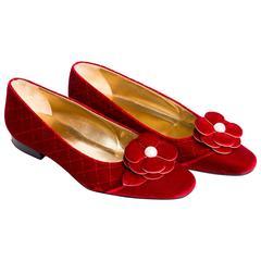 Chanel Red Velvet Camelia Flats