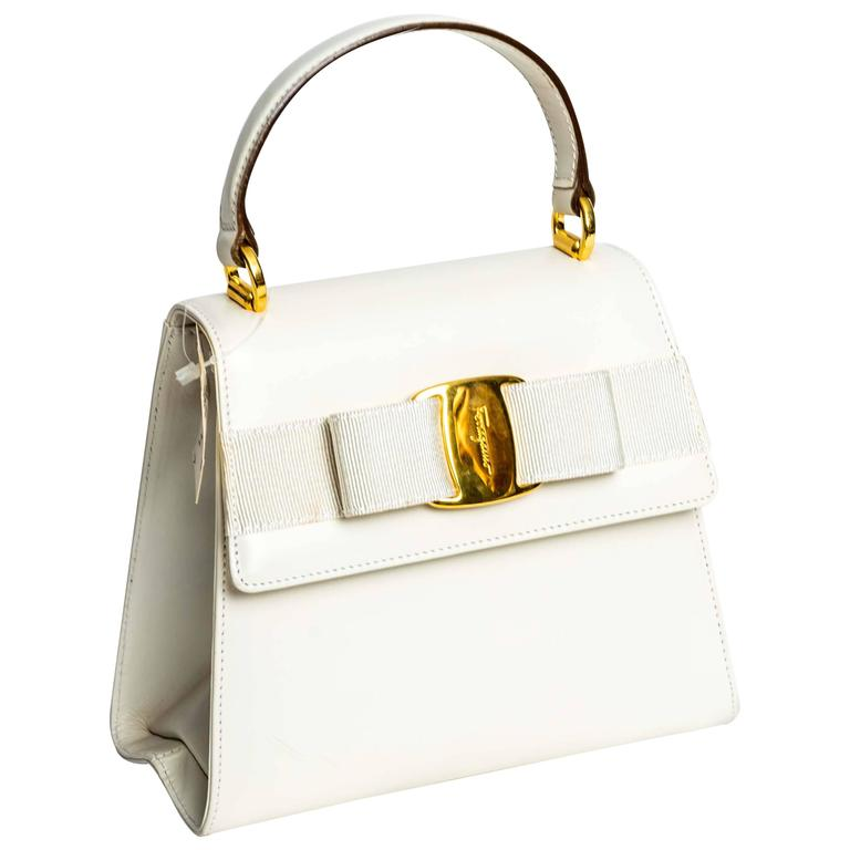 Ferragamo Vintage Vara Bow Two Way Bag in White Leather For Sale