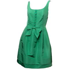 Oscar de la Renta Green Silk Sleeveless Dress