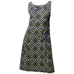 Prada Geometric Print Dress with Resin Embellishment
