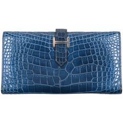 "Hermes ""Bearn"" Blue Genuine Alligator Leather Long Flat Wallet"