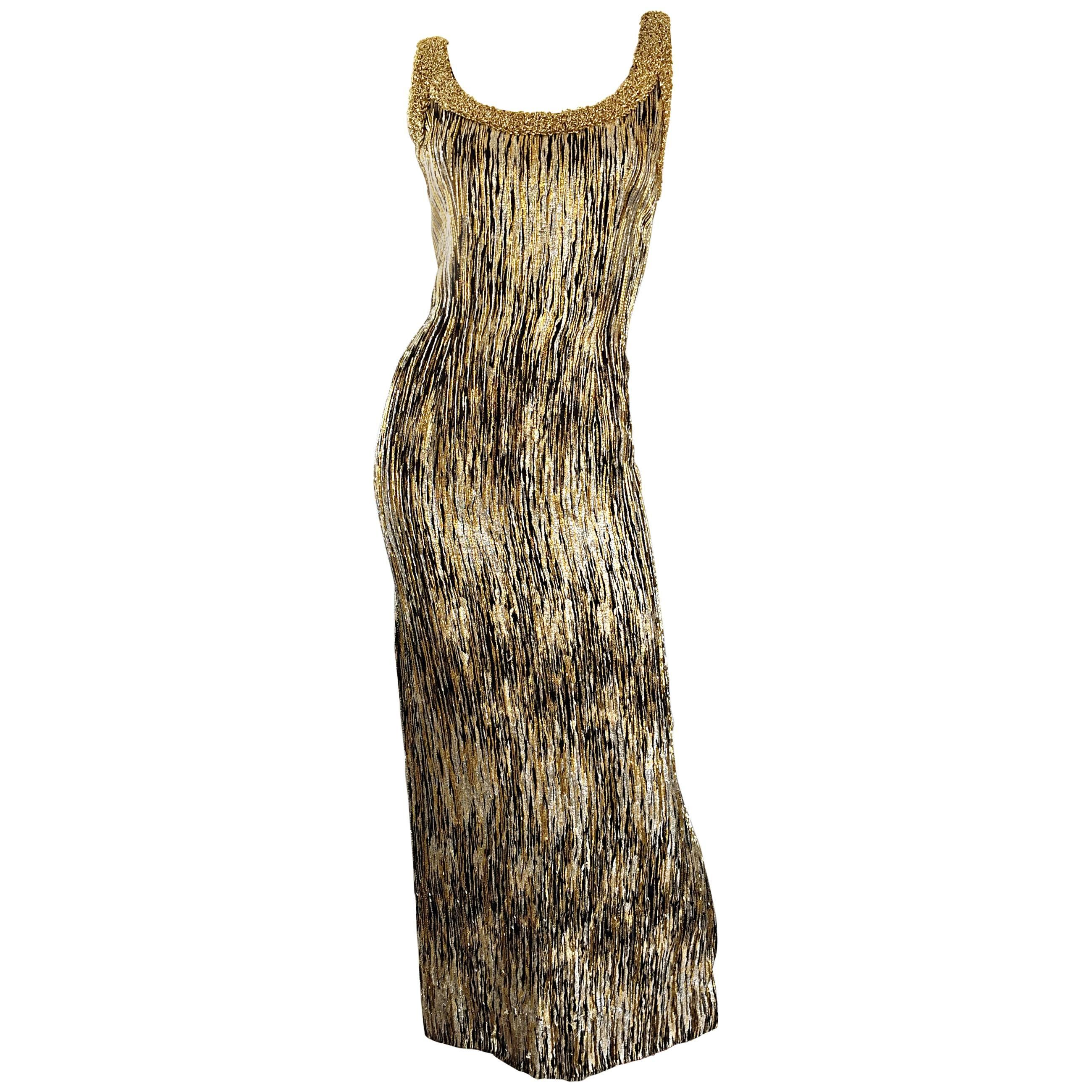 Extraordinary 1950s Beaded Gold Silver Black Silk Couture Wiggle Gown Dress