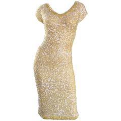 1950s Gene Shelly's Pale Yellow Fully Sequined 50s Vintage Wool Wiggle Dress